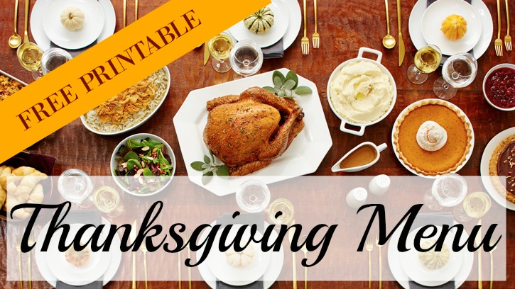 FREE Printable Thanksgiving Menu & Grocery List