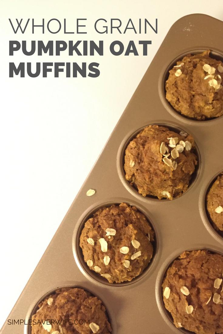 Whole Grain Pumpkin Oat Muffins