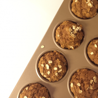 Whole Grain Pumpkin Oat Muffins