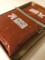 Make-Ahead Homemade Pasta Sauce - Red sauce in freezer bags