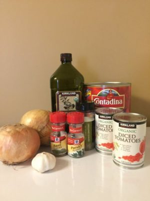 Ingredients needed for Make-Ahead Homemade Pasta Sauce